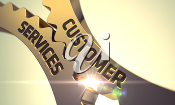 Golden Gears with Customer Services Concept. Customer Services - Industrial Design. Customer Services on the Mechanism of Golden Gears with Lens Flare. 3D.