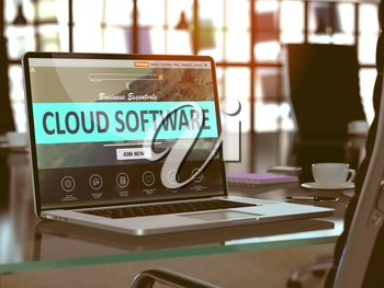Cloud Software Concept Closeup on Laptop Screen in Modern Office Workplace. Toned Image with Selective Focus. 3D Render.