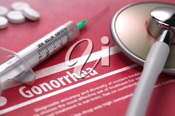 Gonorrhea - Medical Concept on Red Background with Blurred Text and Composition of Pills, Syringe and Stethoscope. 3D Render.