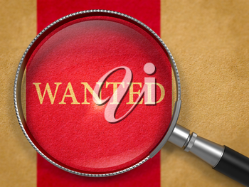 Wanted through Lens on Old Paper with Dark Red Vertical Line Background. 3D Render.
