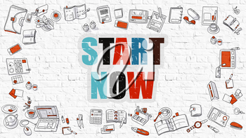 Start Now Concept. Modern Line Style Illustration. Multicolor Start Now Drawn on White Brick Wall. Doodle Icons. Doodle Design Style of Start Now Concept.