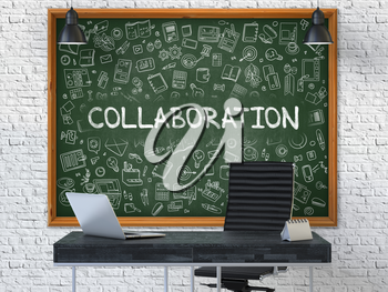 Collaboration - Handwritten Inscription by Chalk on Green Chalkboard with Doodle Icons Around. Business Concept in the Interior of a Modern Office on the White Brick Wall Background. 3D.