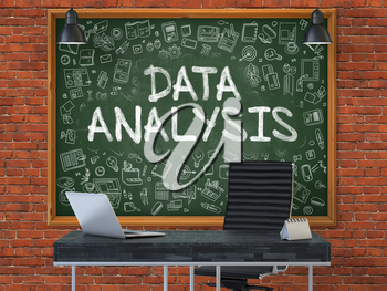 Hand Drawn Data Analysis on Green Chalkboard. Modern Office Interior. Red Brick Wall Background. Business Concept with Doodle Style Elements. 3D.