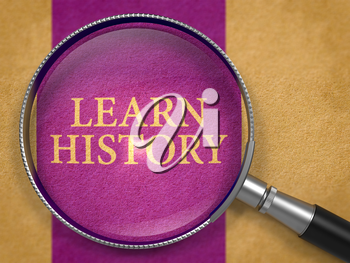 Learn History through Magnifying Glass on Old Paper with Dark Lilac Vertical Line Background. 3D Render.