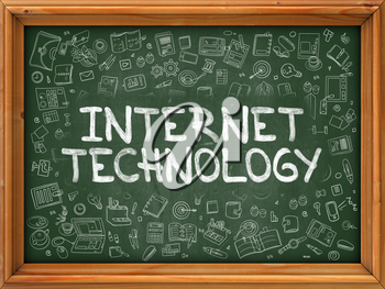 Hand Drawn Internet Technology on Green Chalkboard. Hand drawn Doodle Icons Around Chalkboard. Modern Illustration with Line Style.
