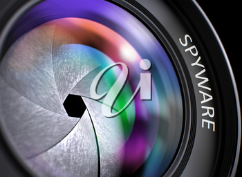 Spyware - Concept on Lens of Camera with Colored Lens Reflection, Closeup. Closeup Photo Lens with Pink and Green Reflection and Inscription Spyware. Front of Lens with Spyware Concept. 3D.