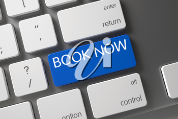 Book Now Concept. Metallic Keyboard with Book Now on Blue Enter Button Background, Selected Focus. Book Now CloseUp of Modern Keyboard on Laptop. Book Now Key on Modern Keyboard. 3D Render.