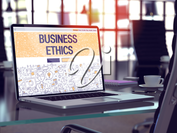 Business Ethics Concept - Closeup on Landing Page of Laptop Screen in Modern Office Workplace. Toned Image with Selective Focus. 3D Render.