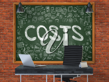 Green Chalkboard with the Text Costs Hangs on the Red Brick Wall in the Interior of a Modern Office. Illustration with Doodle Style Elements. 3D.