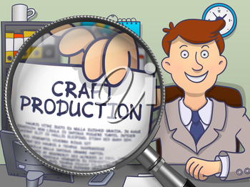 Craft Production. Officeman in Office Showing Paper with Inscription through Magnifier. Multicolor Doodle Style Illustration.