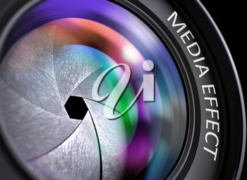 Media Effect on Lens of Digital Camera. Colorful Lens Flares. SLR Camera Lens with Media Effect Concept, Closeup. Lens Flare Effect. Media Effect Written on a Photographic Lens. 3D Render.