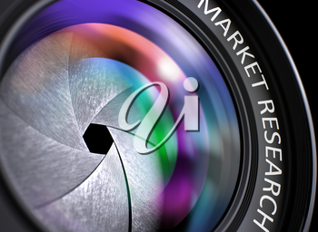 Digital Camera Lens  with Market Research Inscription. Colorful Lens Flares on Front Glass. Market Research on Digital Camera Lens . Colorful Lens Flares. 3D Render.