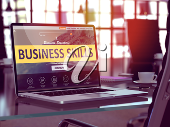 Business Skills Concept. Closeup Landing Page on Laptop Screen  on background of Comfortable Working Place in Modern Office. Blurred, Toned Image. 3D Render.