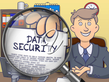 Data Security on Paper in Officeman's Hand through Magnifier to Illustrate a Business Concept. Colored Doodle Style Illustration.