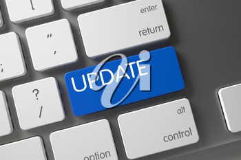 Aluminum Keyboard with the words Update on Blue Button. Modern Laptop Keyboard with Hot Button for Update. Blue Update Key on Keyboard. 3D Illustration.
