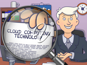 Cloud Computing Technology. Successful Man in Office Shows Text on Paper through Magnifying Glass. Colored Doodle Style Illustration.