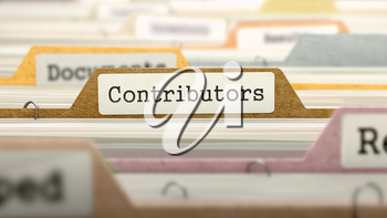 Contributors Concept on File Label in Multicolor Card Index. Closeup View. Selective Focus. 3D Render.
