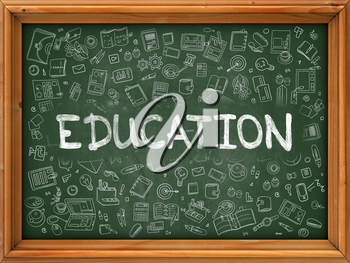 Hand Drawn Education on Green Chalkboard. Hand Drawn Doodle Icons Around Chalkboard. Modern Illustration with Line Style.