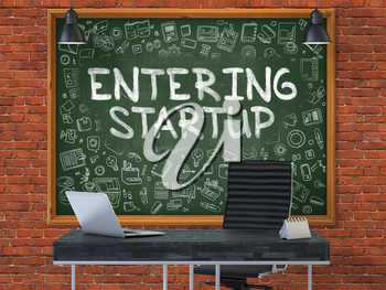 Hand Drawn Entering Startup on Green Chalkboard. Modern Office Interior. Red Brick Wall Background. Business Concept with Doodle Style Elements. 3D.