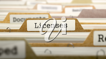 Licenses Concept on File Label in Multicolor Card Index. Closeup View. Selective Focus. 3D Render.