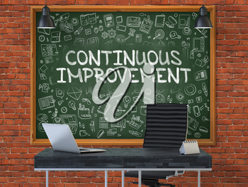 Green Chalkboard on the Red Brick Wall in the Interior of a Modern Office with Hand Drawn Continuous Improvement.  Business Concept with Doodle Style Elements. 3d.