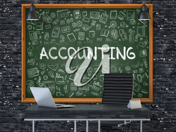 Accounting Concept Handwritten on Green Chalkboard with Doodle Icons. Office Interior with Modern Workplace. Dark Brick Wall Background. 3D.