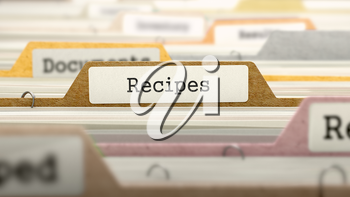 Recipes Concept. Colored Document Folders Sorted for Catalog. Closeup View. Selective Focus. 3D Render.