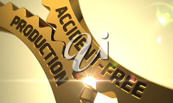 Accident-Free Production on Golden Metallic Gears. Golden Metallic Cog Gears with Accident-Free Production Concept. Accident-Free Production on Mechanism of Golden Gears with Lens Flare. 3D Render.
