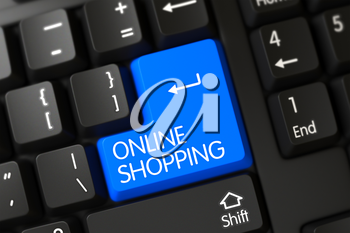 Online Shopping Key on Black Keyboard. Blue Online Shopping Button on Keyboard. Online Shopping Written on a Large Blue Key of a Modernized Keyboard. 3D Render.