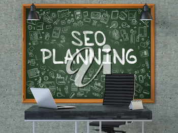 Hand Drawn SEO - Search Engine Optimization - Planning on Green Chalkboard. Modern Office Interior. Gray Concrete Wall Background. Business Concept with Doodle Style Elements. 3D.