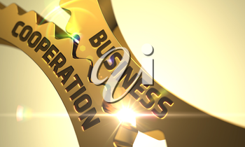 Business Cooperation - Concept. Business Cooperation on the Mechanism of Golden Metallic Cog Gears. Business Cooperation on the Golden Metallic Gears. 3D Render.