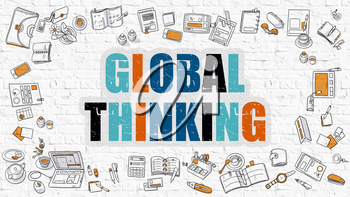 Global Thinking - Multicolor Concept with Doodle Icons Around on White Brick Wall Background. Modern Illustration with Elements of Doodle Design Style.