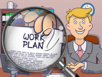 Work Plan through Lens. Officeman Showing a Paper with Concept. Closeup View. Colored Doodle Style Illustration.