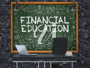 Green Chalkboard on the Dark Brick Wall in the Interior of a Modern Office with Hand Drawn Financial Education. Business Concept with Doodle Style Elements. 3D.