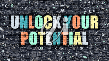 Unlock Your Potential - Multicolor Concept on Dark Brick Wall Background with Doodle Icons Around. Illustration with Elements of Doodle Style. Unlock Your Potential on Dark Wall.