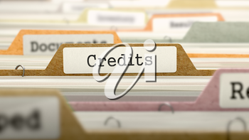 Credits on Business Folder in Multicolor Card Index. Closeup View. Blurred Image. 3D Render.