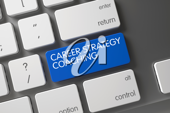 Career Strategy Coaching on White Keyboard Background. Blue Career Strategy Coaching Key on Keyboard. Key Career Strategy Coaching on Modernized Keyboard. 3D.