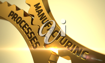 Manufacturing Processes on Mechanism of Golden Cogwheels with Lens Flare. Manufacturing Processes - Concept. Manufacturing Processes - Technical Design. Manufacturing Processes on Golden Gears. 3D.