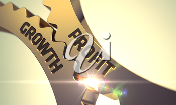Profit Growth - Concept. Profit Growth - Industrial Illustration with Glow Effect and Lens Flare. Profit Growth on the Mechanism of Golden Cog Gears. 3D Render.