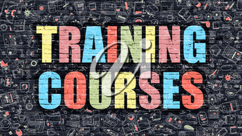 Training Courses. Multicolor Inscription on Dark Brick Wall with Doodle Icons. Training Courses Concept in Modern Style. Doodle Design Icons. Training Courses on Dark Brickwall Background.