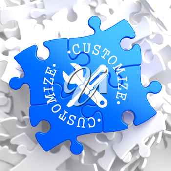 Customize Written Arround Icon of Crossed Screwdriver and Wrench on Blue Puzzle. Service Concept.