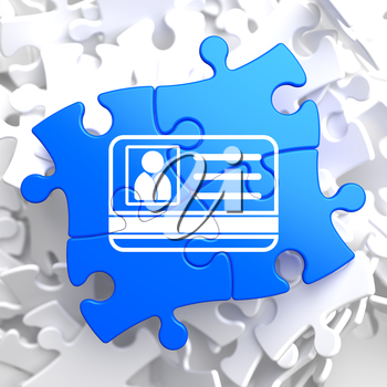 ID Card Icon on Blue Puzzle. Identification Concept.