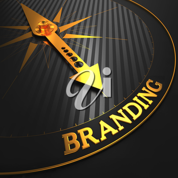 Branding - Business Concept. Golden Compass Needle on a Black Field Pointing to the Branding Word.