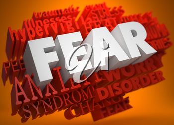 Fear - the Word in White Color on Cloud of Red Words on Orange Background.