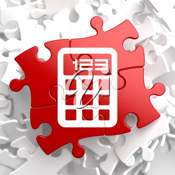 Icon of Calculator on Red Puzzle.