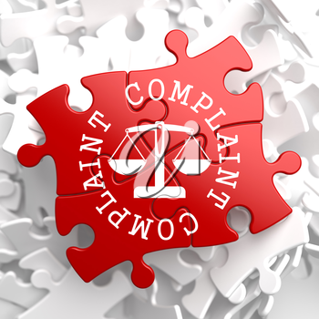 Complaint Word Written Arround Icon of Scales in Balance, Located on Red Puzzle. Business Concept.