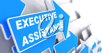 Executive Assistance. Blue Arrow with Executive Assistance Slogan on a Grey Background.