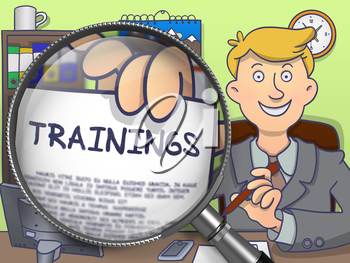 Trainings on Paper in Business Man's Hand to Illustrate a Business Concept. Closeup View through Magnifying Glass. Multicolor Doodle Illustration.