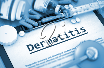 Dermatitis, Medical Concept with Selective Focus. Dermatitis - Medical Report with Composition of Medicaments - Pills, Injections and Syringe. 3D Render.