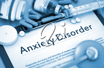 Anxiety Disorder - Printed Diagnosis with Blurred Text. Anxiety Disorder Diagnosis, Medical Concept. Composition of Medicaments. 3D Render.